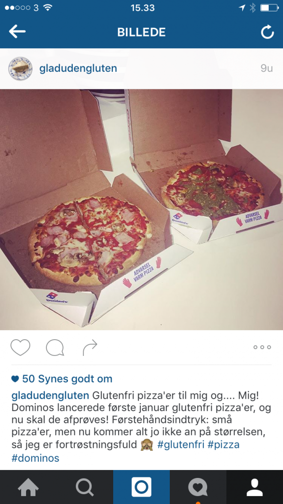Glutenfri pizza hos Dominos